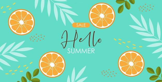 Raccolta di elementi estivi carini, bandiera tropicale, frutta arancione, oggetti di foglie tropicali, carta stagione estiva