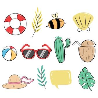 Raccolta di icone carino estate con stile doodle colorato