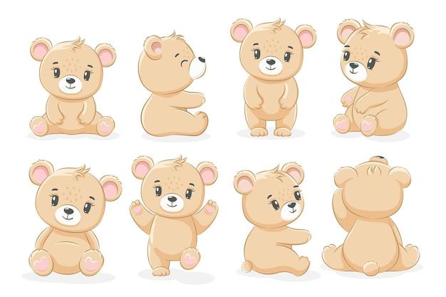 Una collezione di simpatici orsacchiotti. illustrazione vettoriale di un cartone animato.