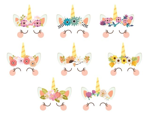 La collezione di faccia di unicorno carino in stile vettoriale piatto.