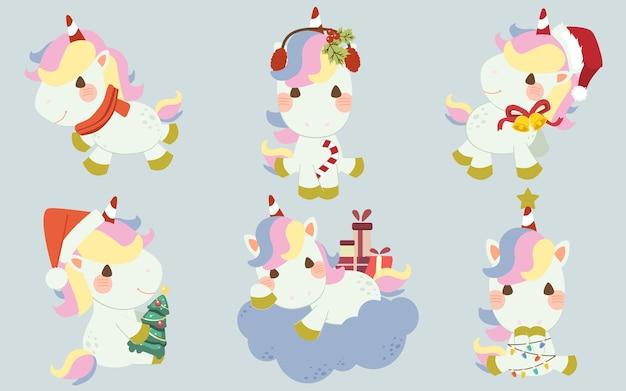 La collezione di unicorno carino con tema costume natalizio in stile piatto.