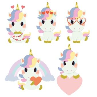 La collezione di unicorno carino con tema san valentino