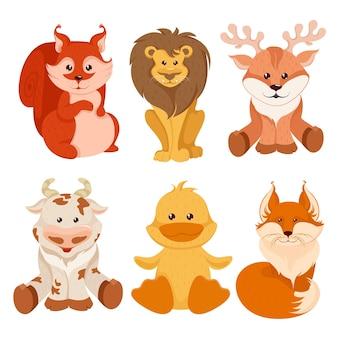 Collezione di simpatici animali selvatici Vettore Premium