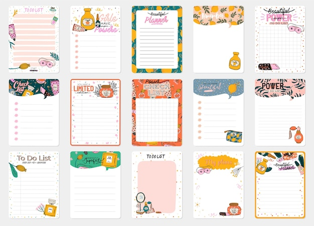 Raccolta di modelli di planner decorati quotidianamente