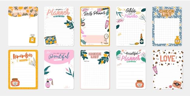 Raccolta di agenda giornaliera, carta per appunti, lista delle cose da fare, modelli di adesivi decorati da simpatiche illustrazioni di cosmetici di bellezza