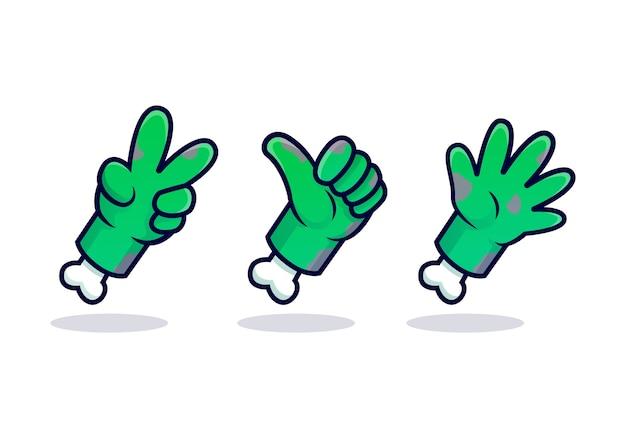 Raccolta di design of zombie hand isolato su bianco