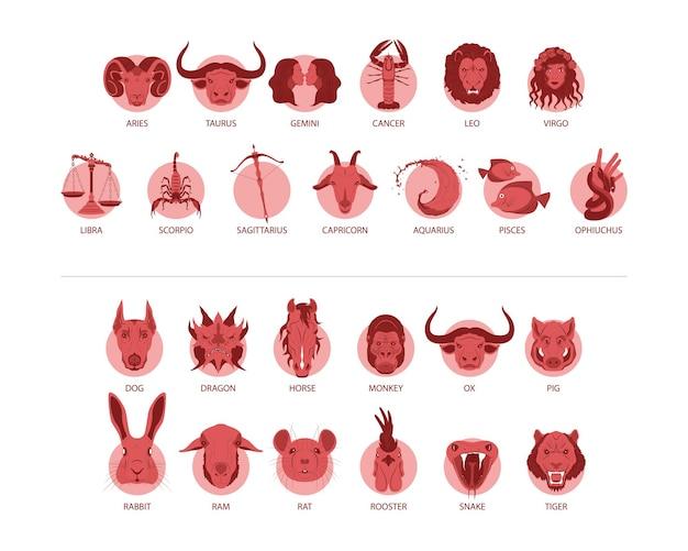 Raccolta di segni zodiacali dettagliati