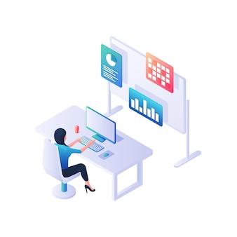 Illustrazione isometrica di infographics statistico di raccolta e sviluppo. il personaggio femminile al computer crea nuovi diagrammi. marketing aziendale creativo e concetto di gestione delle informazioni.