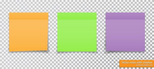 Raccolta di diverse note appiccicose colorate con ombra.
