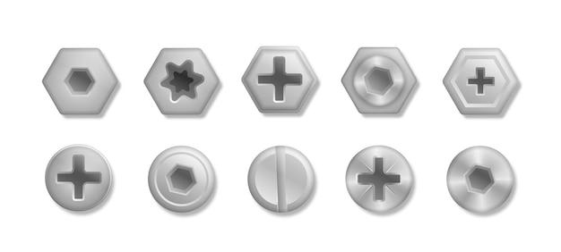 Raccolta di diverse teste di bulloni viti chiodi illustrazione rivetti