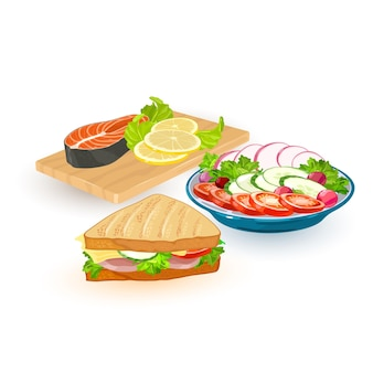 Raccolta di diverse porzioni di pasto