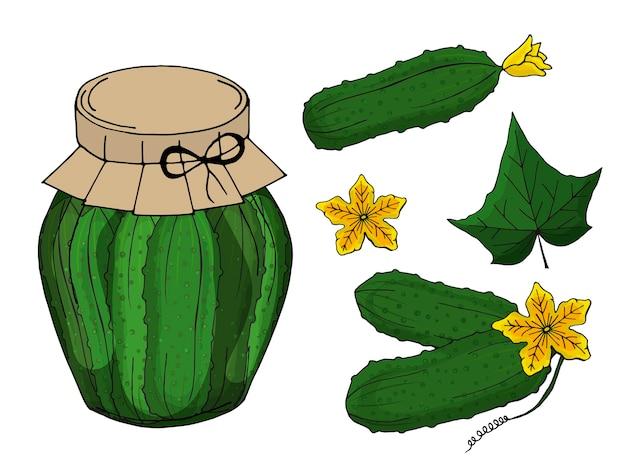 Raccolta di diversi oggetti. vaso di vetro con cetrioli fatti in casa.