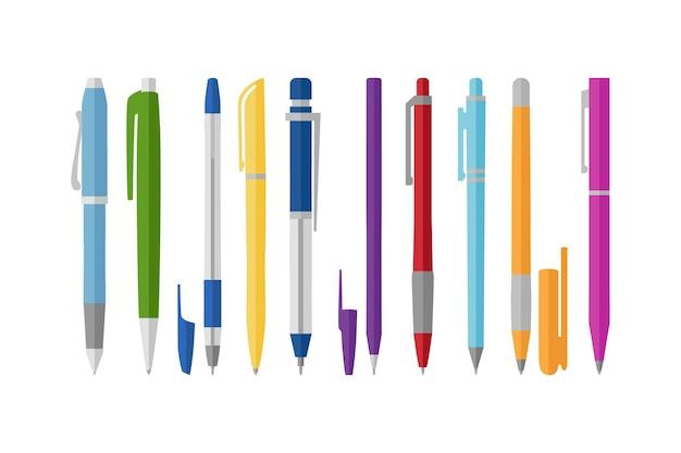 Collezione di penne diverse, stile piatto, illustrazione vettoriale