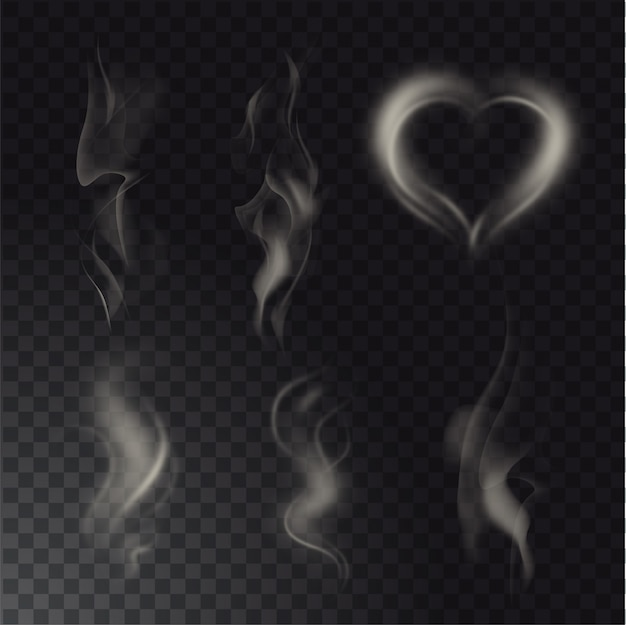 Raccolta di diversi fumi dettagliati alti realistici da cibi caldi o bevande isolati su sfondo trasparente