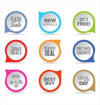 Raccolta di diverse forme adesivi cartellino del prezzo icona