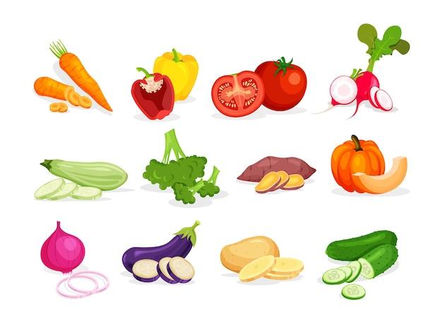Raccolta di diverse verdure in stile piatto alla moda
