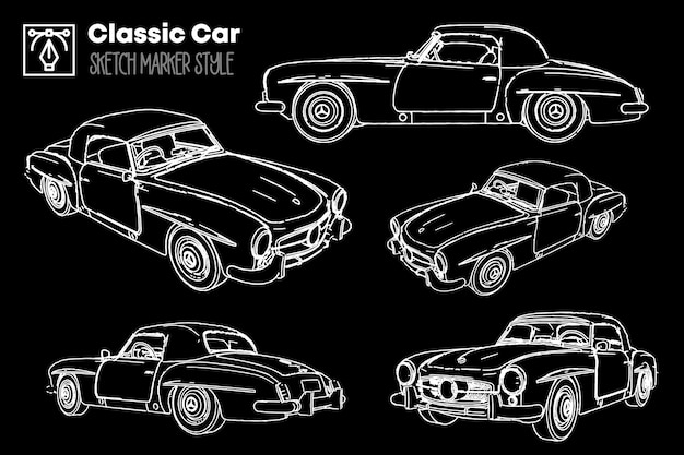 Raccolta di diverse viste di sagome di auto classiche. disegni effetto pennarello.