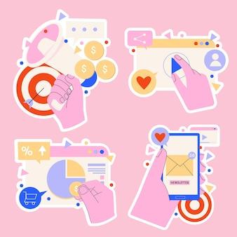 Collezione di adesivi di strategia di marketing digitale