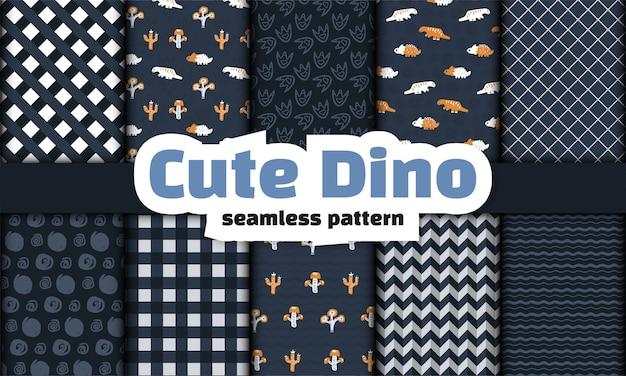 Collezione di dinosauri seamless pattern.