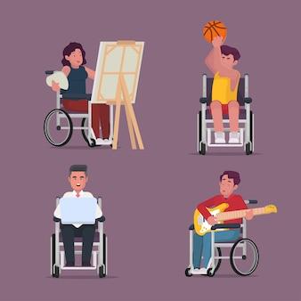 Raccolta di persone dissalate che svolgono attività di pittura sportiva suonando la chitarra con sedia a rotelle