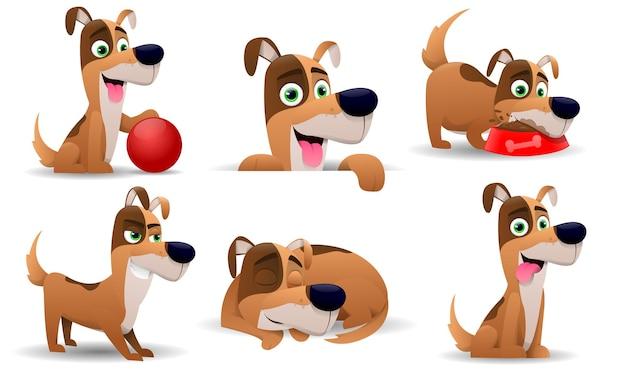 Collezione di cani in stile cartone animato, isolato su sfondo bianco