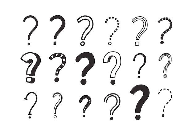 Raccolta di disegni scarabocchiati di punti interrogativi. fascio di punti di interrogazione disegnati a mano con linee di contorno nere su bianco