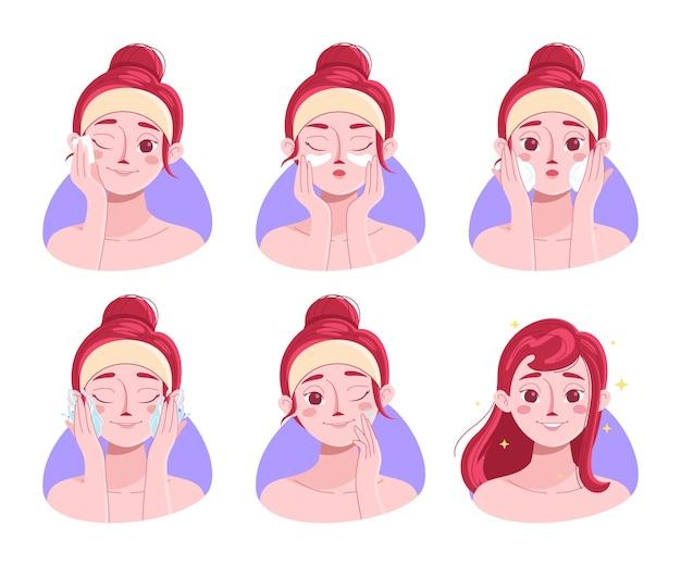 Collezione di donne disegnate che fanno il lavaggio del viso di routine