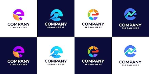 Una raccolta di loghi a gradiente con lettera e, loghi colorati, per idee di design del logo aziendale