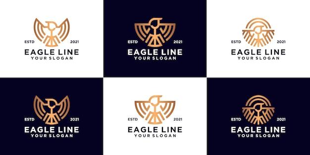 Collezione di design del logo dell'aquila in stile art line di lusso