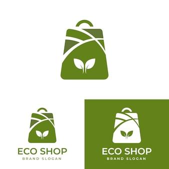 Collezione di modello di progettazione del logo della borsa ecologica