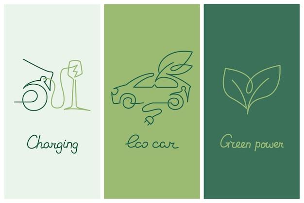 Collezione di poster ecologici con auto elettrica alla stazione di ricarica e cuore fatto di foglie