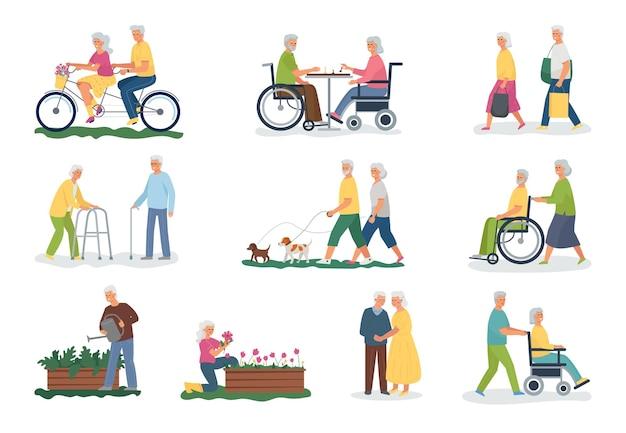 Una raccolta di persone anziane dai capelli bianchi che svolgono varie attività. camminare con il tuo animale domestico, andare in bicicletta, fare shopping, giocare a scacchi, fare giardinaggio. pensionati disabili in sedia a rotelle e con un bastone.