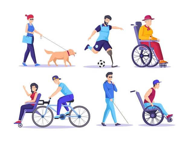 Raccolta di anziani e giovani disabili con gambe amputate arti paralizzate vettore piatto