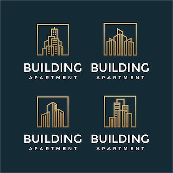 Collezione di design di logo di edifici eleganti con concetti di linea