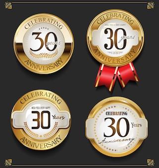 Raccolta di sfondo elegante anniversario d'oro