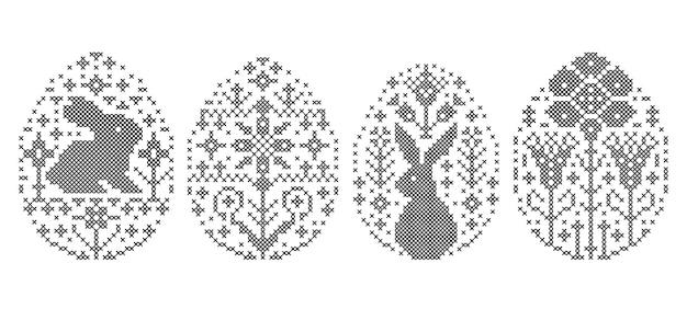 Raccolta di uova di pasqua ricamate su sfondo bianco