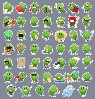 Raccolta di emoji cartoon frog. adesivi di emozioni di vettore