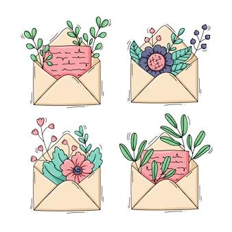 Collezione di buste con fiori