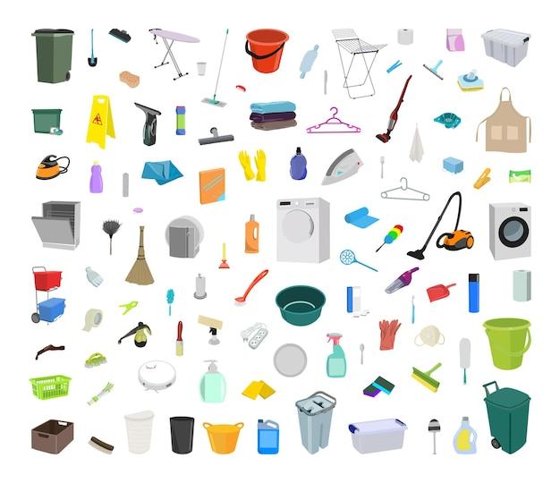 Raccolta di attrezzature per la pulizia. oggetti realistici isolati su sfondo bianco.