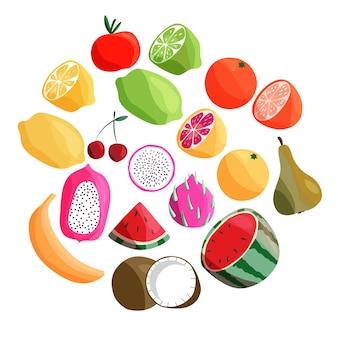 Raccolta di frutta tropicale esotica su bianco