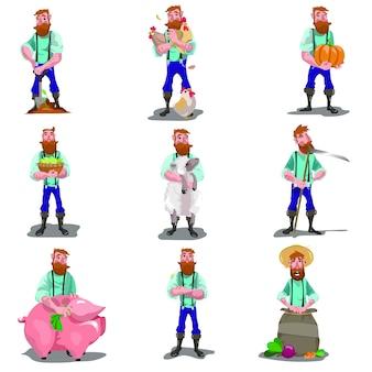 Insieme di illustrazioni di agricoltori. uomo con attrezzi da giardino per varie attività agricole, con varie piante e animali.