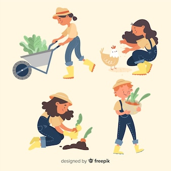 Raccolta di lavoro degli agricoltori illustrata Vettore Premium