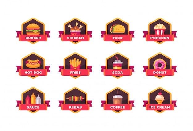 Collezione di badge fast food. etichette del menu del ristorante