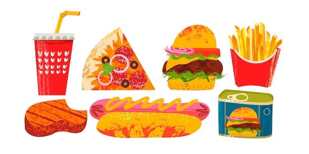 Raccolta di fast food illustrazione vettoriale su sfondo bianco