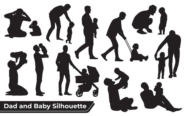 Collezione di sagome di padre e figlio o papà e bambino in diverse pose set