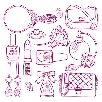 Raccolta di oggetti femminili