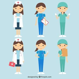 Raccolta di medici femminili con disegno piatto