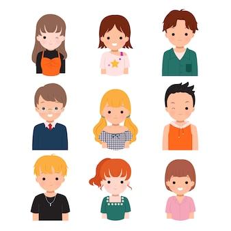 Collezione di set di avatar maschile e femminile. profilo di adolescenti e studenti universitari in abiti casual e alla moda. acconciatura uomo e donna.