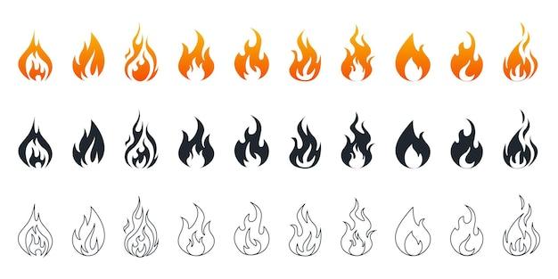Collezione di icone di fuoco. set di icone di fuoco. fiamme di fuoco