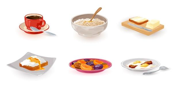 Raccolta del primo pasto del giorno, pane tostato con burro. caffè, frutta secca, uova e bacon
